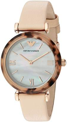 Emporio Armani Women's 'Gianni T-Bar' Quartz Plastic and Leather Casual Watch, Color (Model: AR11004)