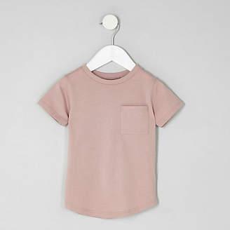 River Island Mini boys pink short turn-up sleeve T-shirt