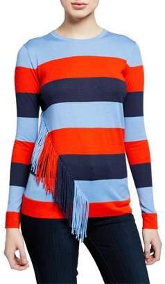Neiman Marcus Striped Long-Sleeve Cashmere-Blend Slim-Fit Top w/ Fringe Trim