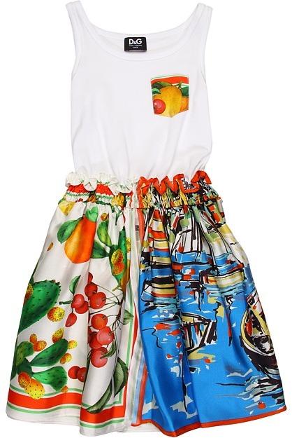 D&G Silk Foulard and Jersey Dress (Toddler/Little Kids/Big Kids) (Portofino/Lemon) - Apparel