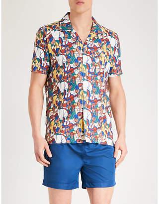 AFIELD Music Scene-print regular-fit linen shirt
