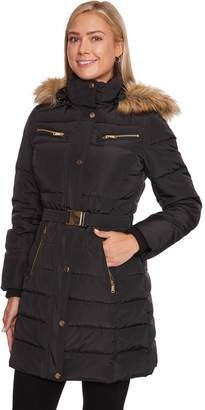 Women's Halitech Faux-Fur Hooded Belted Puffer Jacket