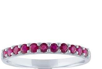 FINE JEWELRY Modern Bride Gemstone Lead Glass-Filled Ruby 10K White Gold Wedding Band