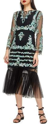 Topshop Flower Mesh Midi Dress