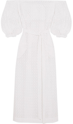 Off-the-shoulder Broderie Anglaise Cotton Maxi Dress - White