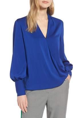Halogen Silk Blend Wrap Blouse (Regular & Petite)