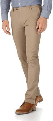 Charles Tyrwhitt Tan Extra Slim Fit Stretch Cotton Chino Pants Size W32 L32