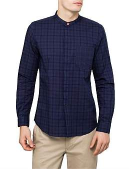 Paul Smith Cotton Overdyed Check L/S Shirt W/ Stand Collar