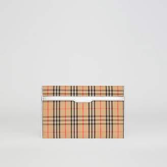 Burberry Medium 1983 Check and Leather Envelope Pouch, Grey