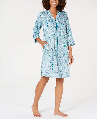 Miss Elaine Printed Brushed-Back Satin Zip Robe