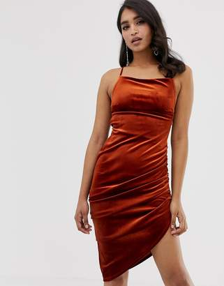 Asos DESIGN velvet midi bodycon dress with strappy back
