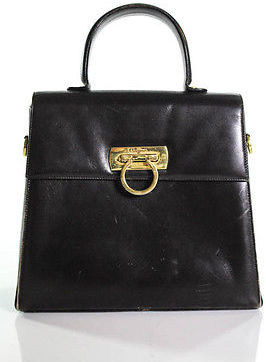 Salvatore FerragamoSalvatore Ferragamo Brown Leather Gold Accent Structured Medium Satchel Handbag