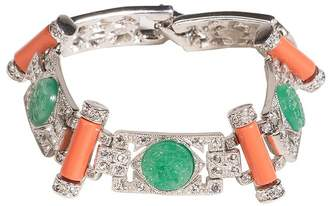 Kenneth Jay Lane Jade And Coral Art Deco Bracelet