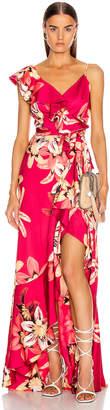 PatBO Floral Carmen Maxi Wrap Dress in Deep Pink   FWRD