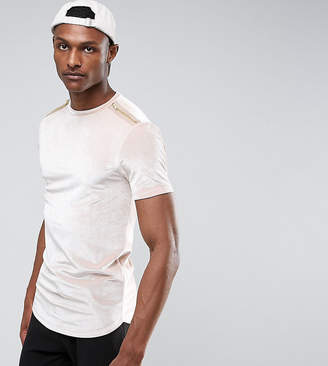 Asos Design TALL Longline Muscle T-Shirt With Zips And Curve Hem In Velour