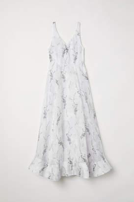 H&M Long Linen-blend Dress - White