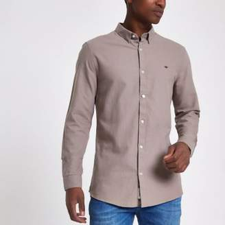 River Island Mens Light brown wasp embroidered Oxford shirt