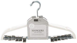 Simplify 6 Pack Velvet Hangers with Clips in Ivory