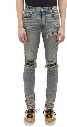 Amiri 'MX1' bandana patch ripped slim fit jeans