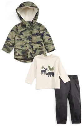 Infant Boy's Little Me Camo Hooded Jacket, T-Shirt & Pants Set $54 thestylecure.com