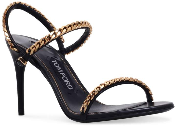 TOM FORD Leather Chain Sandals 80, Black, IT 38