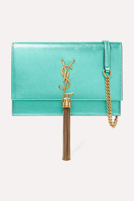 Saint Laurent Kate Small Metallic Textured-leather Shoulder Bag - Turquoise