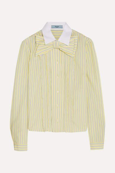 Prada - Bow-embellished Ruffled Striped Cotton Shirt - Pastel yellow