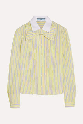 Prada Bow-embellished Ruffled Striped Cotton Shirt - Pastel yellow