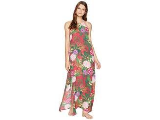 American Rose Tropical Print Maxi Dress