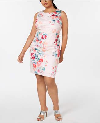 Calvin Klein Plus Size Floral-Print Starburst Sheath Dress