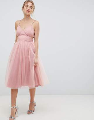 Asos DESIGN Midi Tulle Prom Dress With Cut Out Sides And Bow