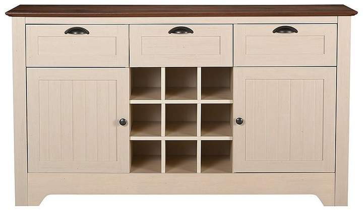 Devon Large Wine Rack Sideboard - Ivory/Walnut
