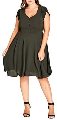 City Chic Button Fit & Flare Dress