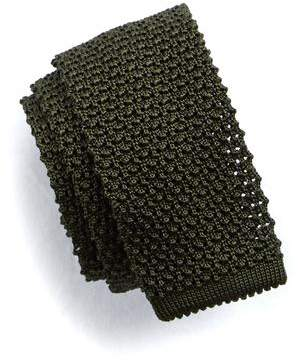 Todd Snyder Classic Knit Silk Tie in Olive