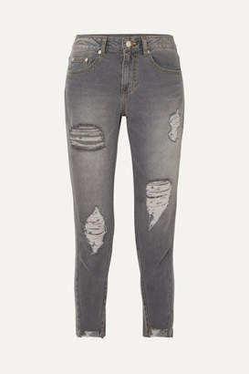 Sjyp Cropped Distressed Mid-rise Skinny Jeans - Gray