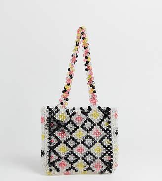 Glamorous multi coloured resin beaded shoulder bag