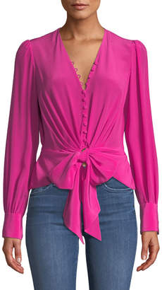 Diane von Furstenberg Julianna Tie-Front Silk Button-Down Top