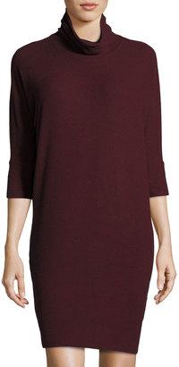 Bobeau Knit Mock-Neck Cozy Dress, Burgundy $49 thestylecure.com