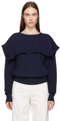 See by Chloe Navy Oversized Feminine Ruffle Sweater