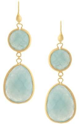 Rivka Friedman 18K Gold Clad Faceted Caribbean Blue Quartzite Satin Teardrop Double Dangle Earrings