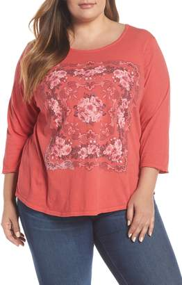 Lucky Brand Floral Front Detail Tee