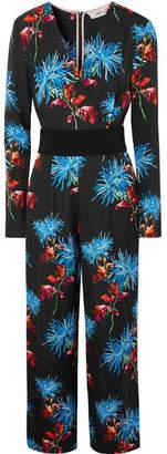 Diane von Furstenberg Belted Floral-print Crepe Jumpsuit - Black