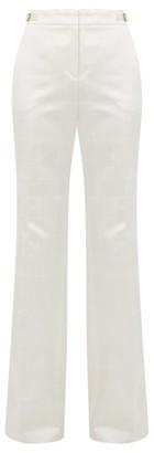 Gabriela Hearst Windowpane Check Satin Trousers - Womens - Ivory
