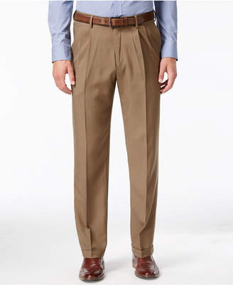 Haggar Men's Eclo Stria Classic Fit Pleated Hidden Expandable Waistband Dress Pants