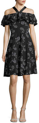 Armani Exchange Cold-Shoulder Ruffle Dress