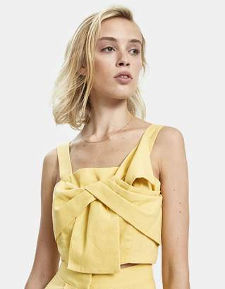 Farrow Joan Bow Front Linen Crop Top