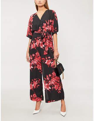 Forever Unique Black and red floral kimono jumpsuit