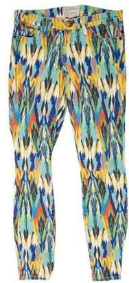 Current/Elliott Low-Rise Patterned Jeans