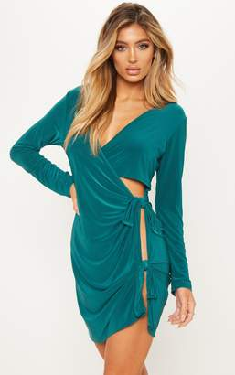 PrettyLittleThing Emerald Green Plunge Cut Out Knot Detail Bodycon Dress