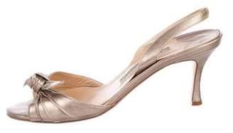 Manolo Blahnik Metallic Leather Slingback Sandals